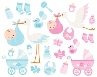 Baby Boy Clipart Baby Girl Clipart Baby Stork Clipart Baby Items Clipart  Baby Stroller Clipart Baby