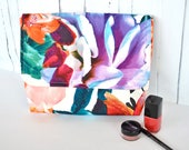 Colourful cosmetic case, toilet bag womens, tropical make up bag, large toiletry bag, padded bag, bathroom storage