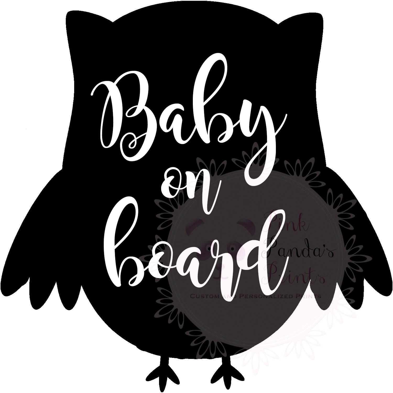 Baby On Board Vinyl Sticker Car Custom Greeting Door Sticker - Owl custom vinyl decals for car