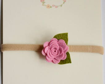 Felt Flower Headbands on Nylon Headband - felt posies on nylon headband - newborn - baby headband