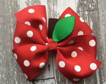 Apple Bow - Apple Back to School Bow - Back to School Hair Bow - Apple Hair Bow - School Hair Bow - School Bow