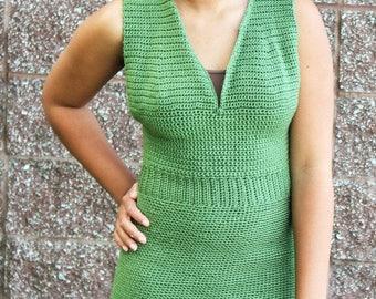 Cinch Waist Sleeveless Dress Crocheted Pattern