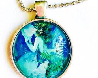 Women Chain necklace, round pendant necklace, mermaid  necklace, blue necklace silver chain necklace, ocean necklace,