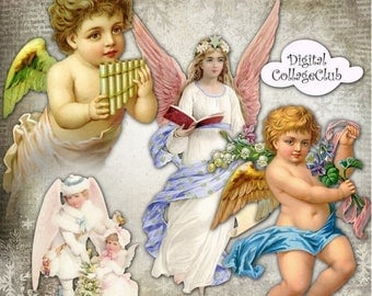 80 % off Graphics SaLe Angels and Cherubs Digital Collage Sheet Christmas Angels Images for Decoupage Paper, Christmas Clipart, Scrapbooking