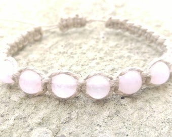 Rose Quartz Hemp Bracelet, Hemp Jewelry, Woven Hemp Bracelets, Handmade Hemp Bracelet, Minimal Jewelry, Anklet, Hemp, Jewelry for Her.