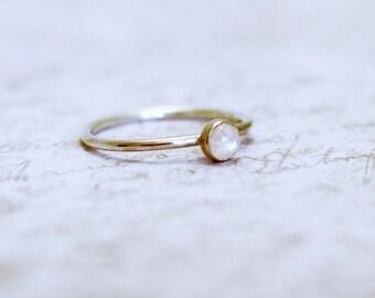 Moonstone ring, gemstone ring, moonstone stacking ring, silver stacking ring, celestial ring
