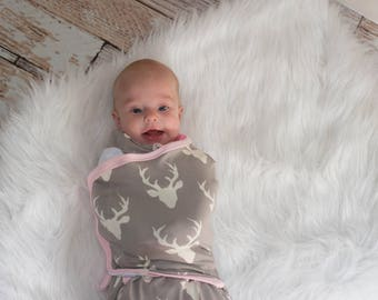 Baby Swaddle Blanket Deer Antlers with Velcro sides and Zipper bottom to change diapers