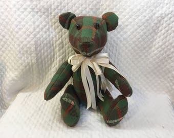 Green Plaid Jointed Bear, Handcrafted Plaid Bear, Hand Made Bear, Green Plaid Fabric Bear