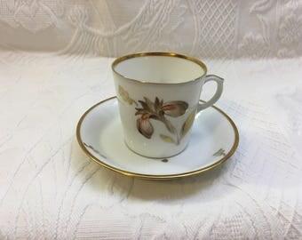 Royal Copenhagen Flat Demitasse Cup & Saucer, Bone China Demitasse, Brown Iris, Gold Trim, Marked 711 909d dgx