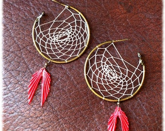 Unelma... Woven Tan and Red origami earrings