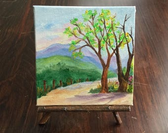 Mountain landscape, miniature painting, oil painting, easel, Smoky Mountains, Appalachian Mountains, Blue Ridge Mountains