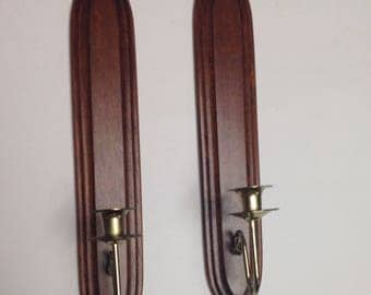 Pair Danish modern wood sconces, vintage Scandinavian sconces, long wood sconces, Danish Modern candleholders, Midcentury wood wall sconces