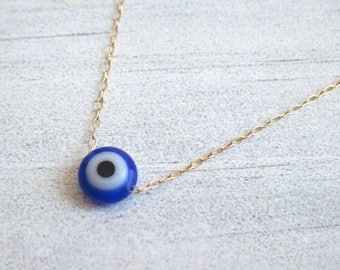 Gold Evil Eye Necklace ,  Blue Evil Eye Necklace , Bridesmaid Gift , Delicate Necklace , Layering Necklace , Evil Eye Necklace