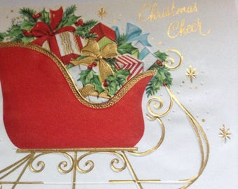 Vintage Christmas card sleigh unused+env