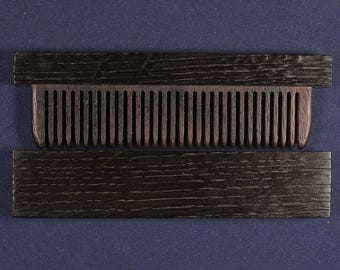 Wooden comb from Bog Oak 5400 years old. For courting beard, a good gift for men, women, father, mother, sister, brother, colleague.