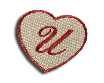 """Thermo Monogram """"Letter U"""" shaped red heart"""