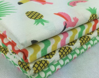 "Set of 4 coupons ""Pineapple"" 100% cotton fabric 50 x 50 cm"