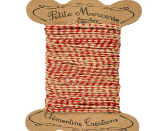 Pretty linen/red cord spool kraft 2 m