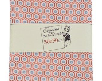 "Cut of fabric 100% cotton ""Kobe red"" 50cm X 50 cm"