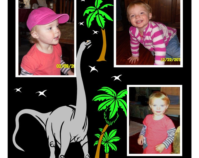 Dinosaurs and Kids • A Brontosaurus Chewing on Palm Fronds • 12x12 Premade Scrapbook Overlay • Crafts by the Sea