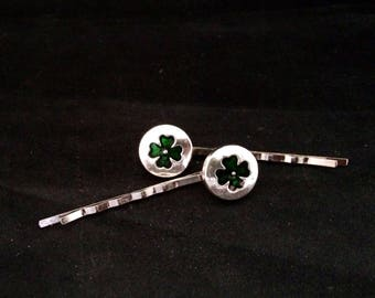 Set Of 2 Silver Metal Hair Pins With Green Clovers