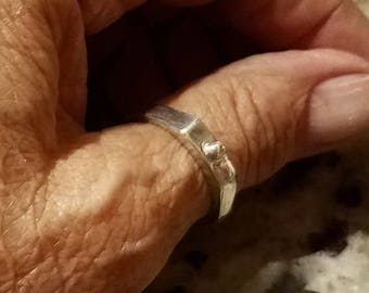 """JULY SALE Original design,  hand built 4mm ring in PMC silver. rectangular shaped top is finished with one """"bubble"""" at center.  Another unis"""