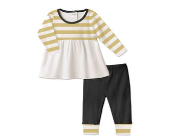Baby Thanksgiving Outfit, Baby Girl Thanksgiving Outfit, Long Sleeve Top, Leggings, Yellow Stripes, Black, Tesababe TL180IMIY0000