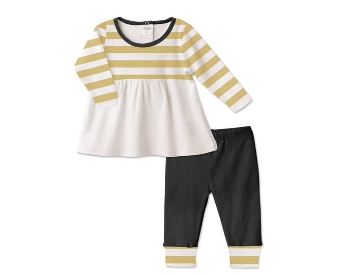 Baby Girl Fall Outfit, Baby Girl Autumn Outfit, Black Baby Girl Leggings, Yellow Stripes Top, Black leggings, Tesababe TL180IMIY0000