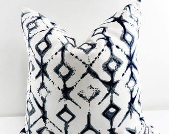 SALE Indigo Pillow cover. Vintage Indigo Tribal Print Sham Cover. Vintage Dark Indigo Throw pillow cover. Euro pillow case. Select size
