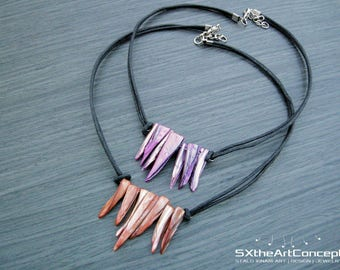 Shipping Included •Shell spikes necklace,  purple or orange necklace, mother of pearl necklace, abalone necklace, tribal, hippy jewelry