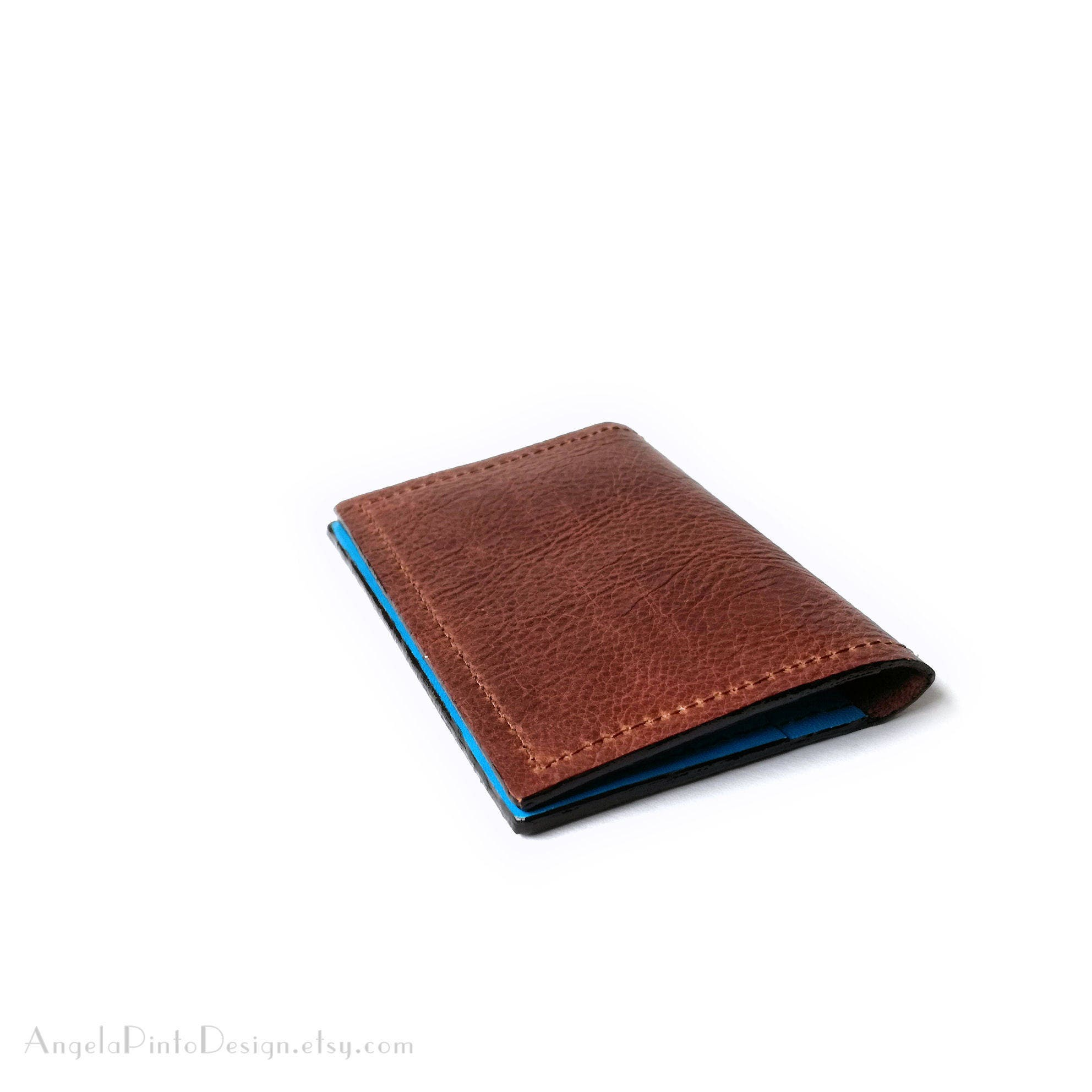 Leather card holder in brown and bright blue womens card case mens leather card holder in brown and bright blue womens card case mens leather card colourmoves