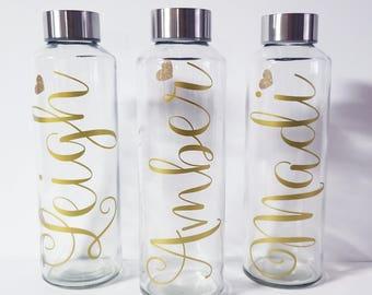 Glass Water Bottle, Personalized Monogram 16 ounces, Bridesmaid Gift, Bridesmaid Water Bottles, Wedding Waterbottles