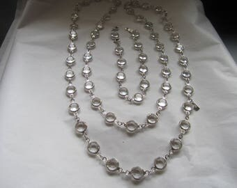 """36"""" Swarovski Clear Crystal Bezel Necklace in Silver Plate with matching 8"""" Bracelet"""