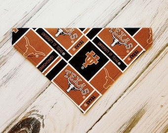 SALE Size Small Ready to Ship University of Texas Inspired Dog Bandana, Dog Scarf, kerchief