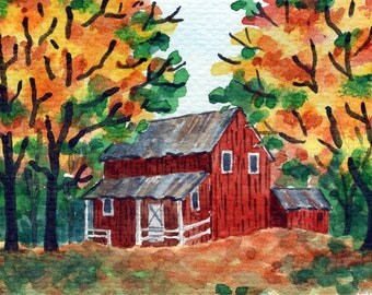 ACEO Original Watercolor Painting-Red Barn in Colorful Autumn/Fall