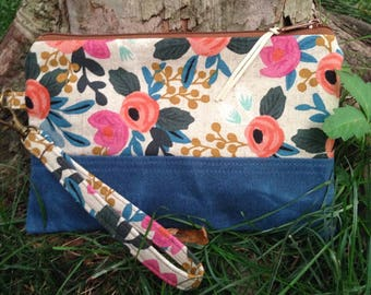 Floral Linen Canvas Clutch / Handmade Linen and Waxed Canvas Wristlet / Blue Waxed Canvas, Floral Print Linen Canvas