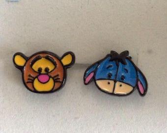 Eeyore and tiger earrings, Pooh bear Disney