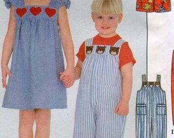 SUMMER SALE 1990s Simplicity 8194 Girls Boys Overalls Jumper Sundress Top Shorts Sewing Pattern Size 3 4 5 6 UNCUT