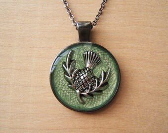 Scottish thistle pendant necklace. Emblem of Scotland.  Gunmetal. Green, silver. Handmade resin necklace.
