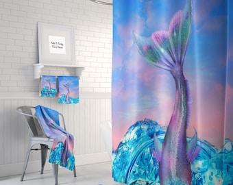 Mermaid Tail Shower Curtain Bath Mat, Towels, Pastel Ocean Sky