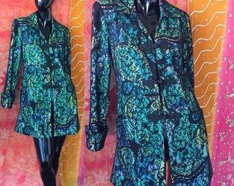 Sale Boho Chic Blazer Crochet Psychedelic Blazer 90s Punk Goth Rock Star Jacket
