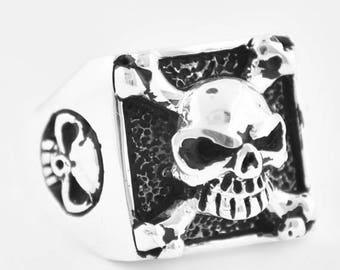 June SALE 925 Sterling Silver Biker Skull Ring with Cross Bones Made in USA