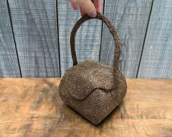 1950's Bronze Hand Beaded Box Evening Bag ~ Handed Beaded in Belgium ~ Bag by Josef