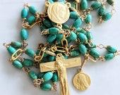 Rosary - Sinai Turquoise - 18K Gold Vermeil +St Mary Magdalene Medal