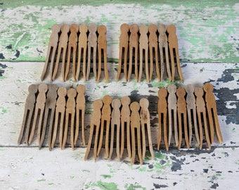 Vintage Old Wooden Clothespins