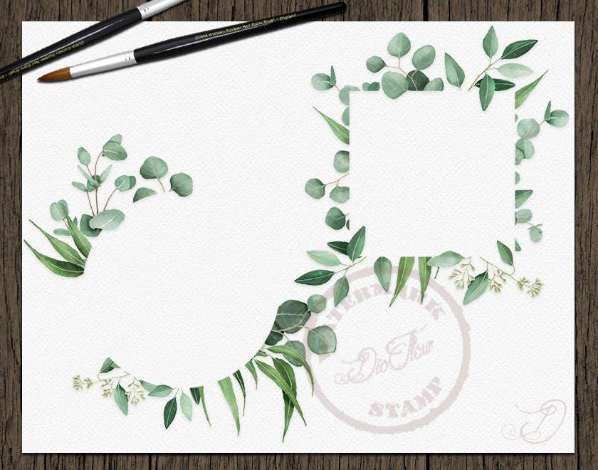 Watercolor Eucalyptus Clipart Frame Greenery Frames Clip