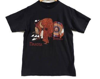 VTG Dakota Territory Native American T-Shirt - Small - Buffalo - Bison - Standing Rock Tee - Vintage Tee - Vintage Clothing -