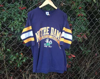 VTG Notre Dame Fightin Irish V Neck T-Shirt - XL - Longsleeve - Logo 7 - Navy Blue - Vintage Tee - Vintage Clothing -