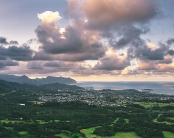 Oahu Scenic Sunset // Hawaii Photography // Mounted Photo Print