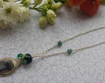 Fern Necklace. Art jewelry. Lampwork. Handmade Sterling silver. Fine Gemstone jewelry. Uk artist. Gift for her.